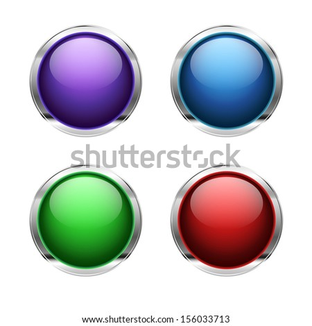 Abstract empty glossy buttons: red, green, blue and purple