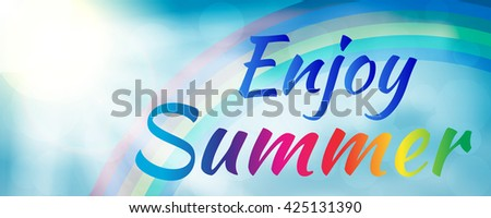 Abstract enjoy summer banner style with rainbow. Enjoy summer banner. Summer season. Summer design. Summer text. Summer lettering. Summer art. Summer decoration. Summer phrase. - stock vector