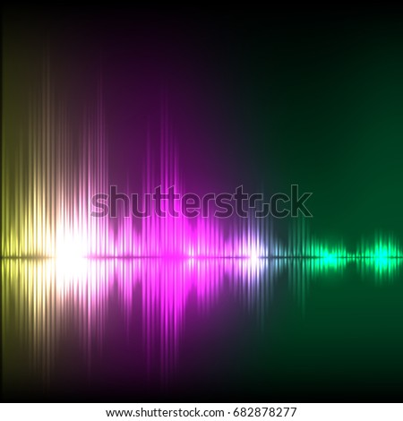 Abstract equalizer background. Yellow-purple-green wave. EPS10 vector.