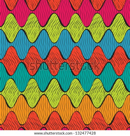 Abstract ethnic doodle with geometrical wave, seamless pattern - stock vector