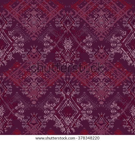 Abstract ethnic seamless pattern. Tribal art boho print, vintage ornament. Background texture, wallpaper, wrapping - stock vector