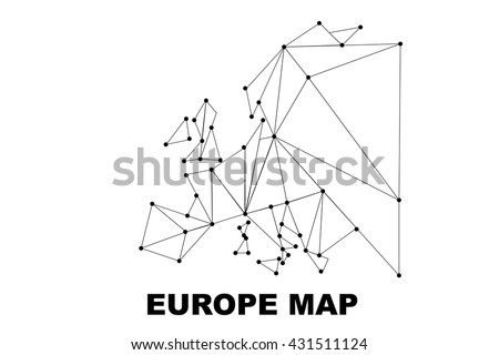 Abstract Europe map lines connection. Vector illustration - stock vector