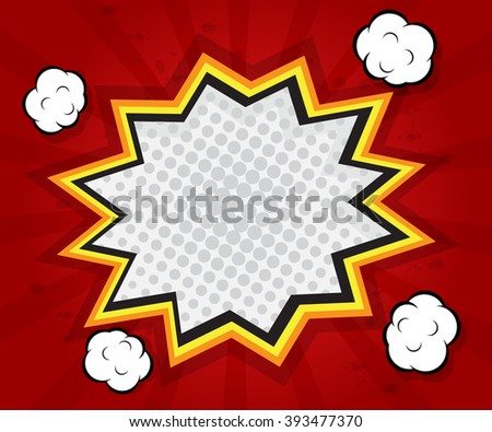 abstract explode  boom blank speech bubble pop art, comic book on red  background vector illustration