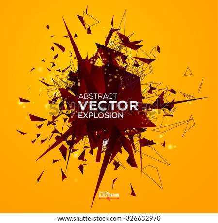 Abstract explosion with polygonal particles. Concept for electronic music graphic design. Vector illustration. - stock vector
