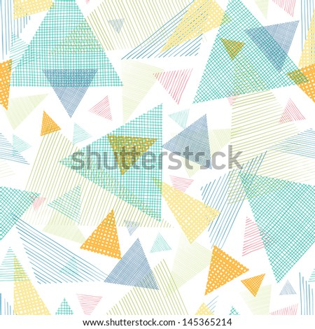 Abstract fabric triangles seamless pattern background - stock vector