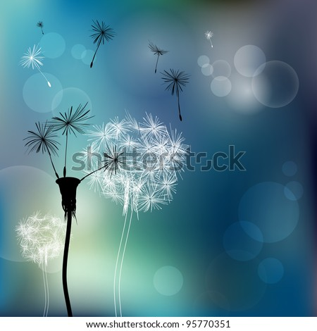 Abstract faded dandelions - stock vector
