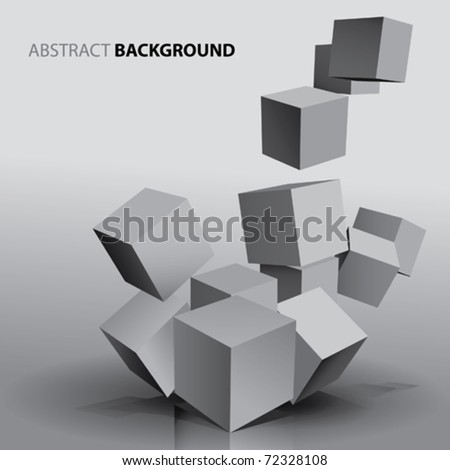 Abstract Falling Cubes - stock vector