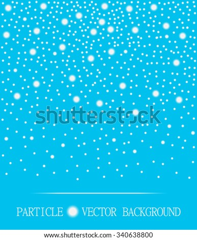 Abstract falling snow particles cyan background. Style background for presentation, cards, scientific and jewelry design. Vector illustration - stock vector