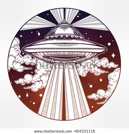 Abstract fantastic Alien Spaceship. UFO Background with flying saucer icon in the night sky. Conspiracy theory concept, tattoo art. Isolated vector illustration.  - stock vector