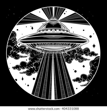 Abstract fantastic illustration - Alien Spaceship. UFO Background with flying saucer icon in the night sky. Conspiracy theory concept, tattoo art. Isolated vector illustration.  - stock vector