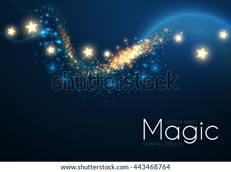 Abstract Fantastic Wave Background. Magic Design with Gold Dust and Stars. Night Sky and Wind. Party Space. Vector illustration - stock vector