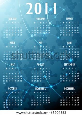 Abstract fantasy 2011 Calendar - stock vector
