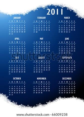 Abstract fantasy 2011 Calendar. Christmas vector - stock vector