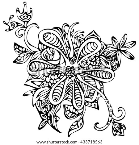 Abstract fantasy flower for prints, coloring book, fabrics, textiles or sketch tattoo. Doodle, black and white drawing, monochrome