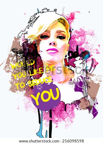 Abstract fashion composition with a girl and text - stock vector
