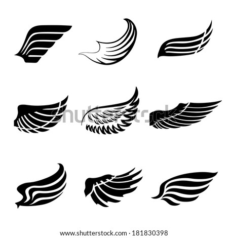 Abstract feather angel or bird wings icons set isolated vector illustration - stock vector