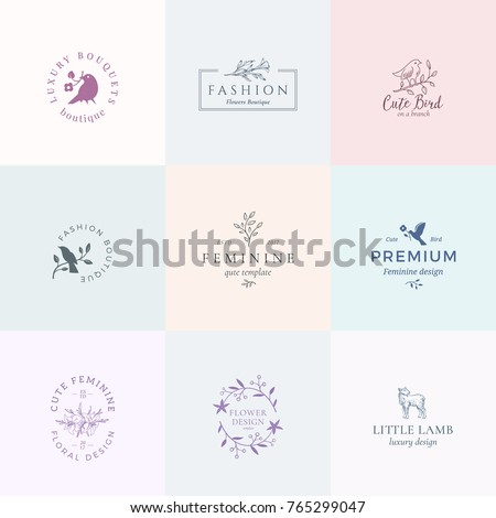 Abstract Feminine Vector Signs Or Logo Templates Set Retro Floral Illustration With Classy Typography