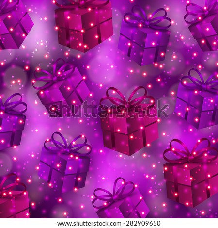 Abstract festive blurred background with gifts, bows, ribbons, bokeh, confetti for invitation, gift, greeting card, poster, flyer, banner, cover. Happy birthday design. Vector illustration EPS 10. - stock vector
