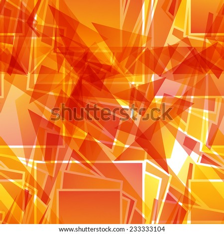 Abstract fiery red seamless pattern of geometric shapes - stock vector