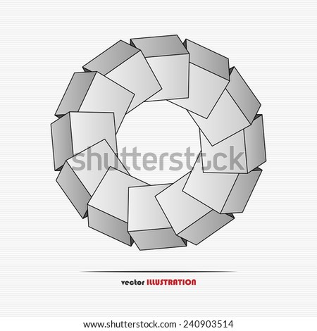 Abstract figure made of cubes for your design - stock vector