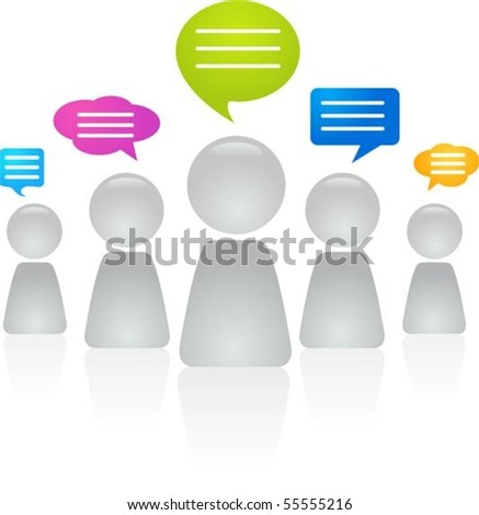 Abstract figures with speech bubbles - stock vector
