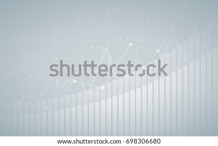 Abstract financial chart with up trend line graph, bar chart and numbers in stock market on gradient gray color background