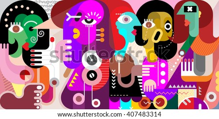 Abstract fine art portrait of five adult people. Vector illustration of a  large company of people who have something to discuss.