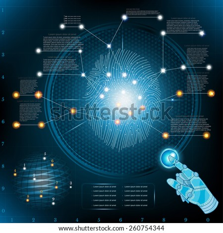 abstract fingerprinting infographic with robotic hand poiner info and fingerprint - stock vector