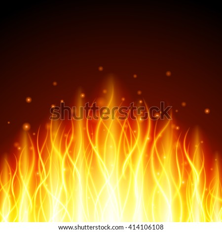 Abstract fire flame light on black background vector illustration. Burning flames translucent elements special Effect - stock vector