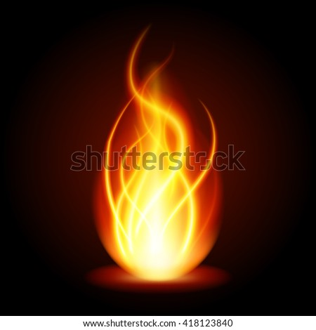 Abstract fire flame light on black background vector illustration. Burning flames translucent elements special glowing effect. - stock vector