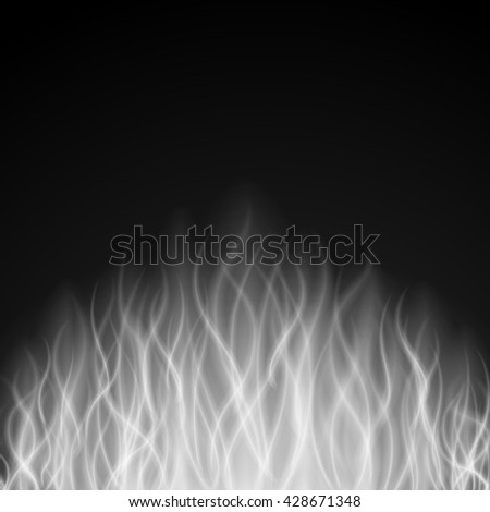 Abstract fire smoke light on black background vector illustration. Burning flames translucent elements special glowing effect. - stock vector