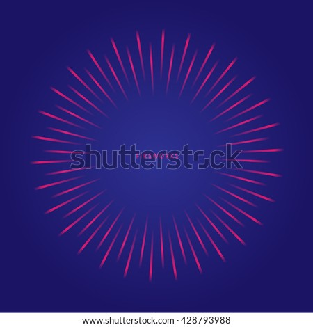 Abstract firework, salute, explosion on blue background. Vector illustration.