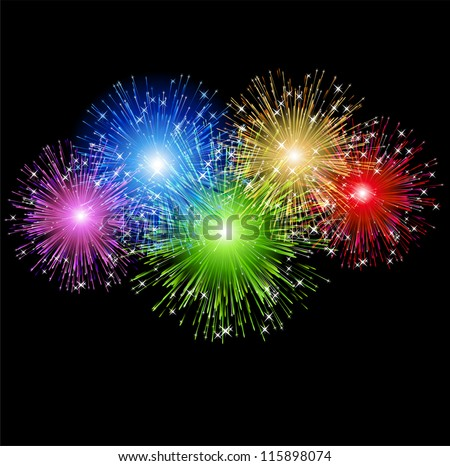 Abstract fireworks - stock vector
