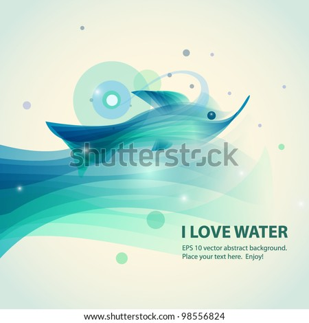 Abstract fish vector background - stock vector