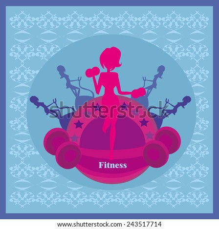 Abstract fitness girl training card - stock vector