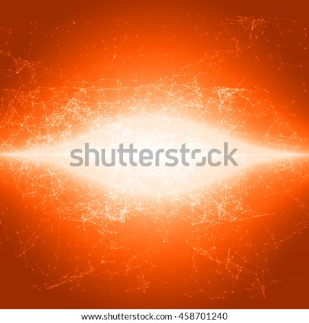 Abstract Flashed Polygonal Space Background with Connecting Dots and Lines | EPS10 Vector Illustration - stock vector