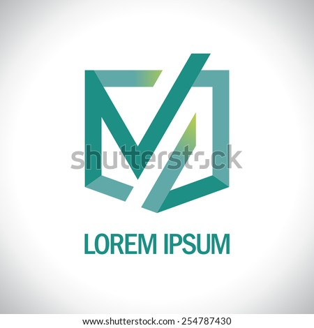 Abstract flat art logo template. - stock vector