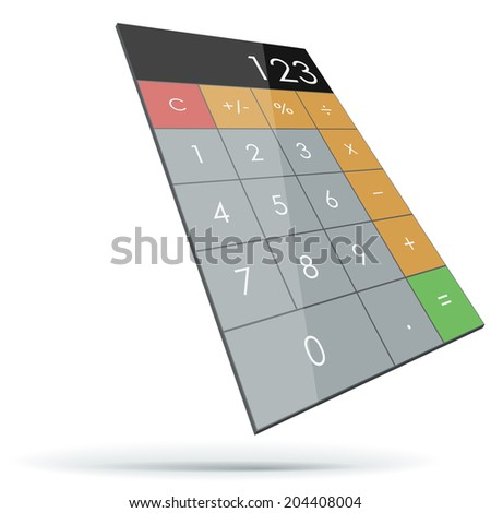 Abstract flat 3D calculator isolated on white background.  - stock vector