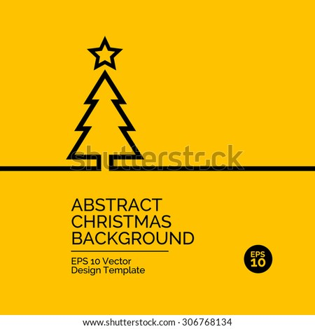 Abstract flat design concept with christmas tree illustration on yellow background. Vector collection - stock vector