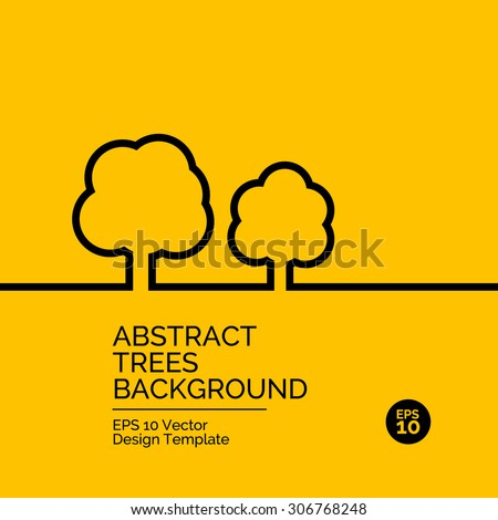 Abstract flat design concept with trees illustration on yellow background. Vector collection