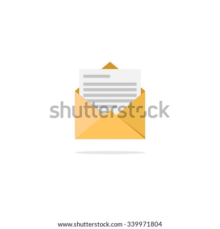 Abstract flat design vector mail and message icon illustration for prints, interfaces - stock vector