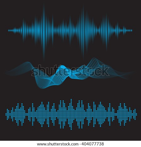 Abstract flat design vector sound waves collection. Equalizer technology blue vibration set. Minimalistic / fluorescent / shine style, sound waves for your application, presentation, flyer, sound   - stock vector