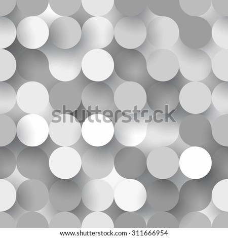 Abstract flat seamless background with grey paper circles - stock vector