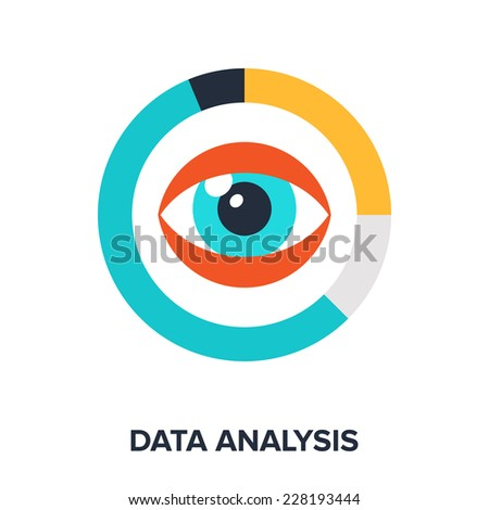 Abstract flat vector illustration of data analysis concept. Elements for mobile and web applications. - stock vector