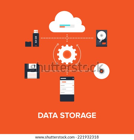 Abstract flat vector illustration of data storage concept isolated on red background. Design elements for web. - stock vector