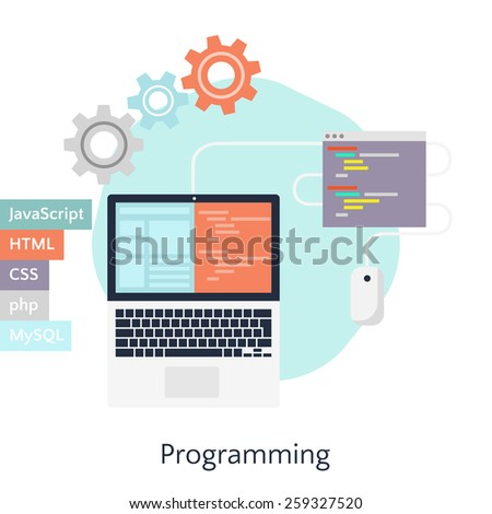 Abstract flat vector illustration of software coding and development concepts. Design elements for mobile and web applications. Programming in JavaScript, HTML, CSS, php, MySQL. - stock vector