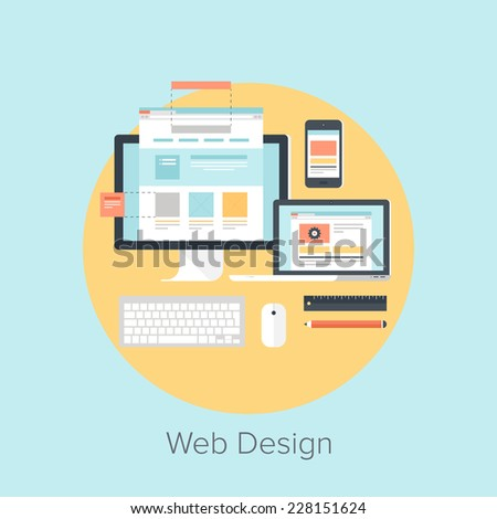 Abstract flat vector illustration of web design and development concepts. Elements for mobile and web applications. - stock vector
