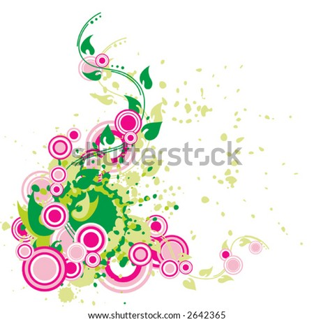 abstract flora composition with flourishes and circles