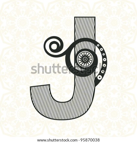 abstract floral ABC, ornamental letter J - stock vector