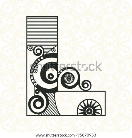 abstract floral ABC, ornamental letter L - stock vector